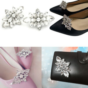 623873e058 Details about Crystal Diamond Shoes Clips DIY Shoes Flower Charms Bridal  Wedding Shoe Clips UK