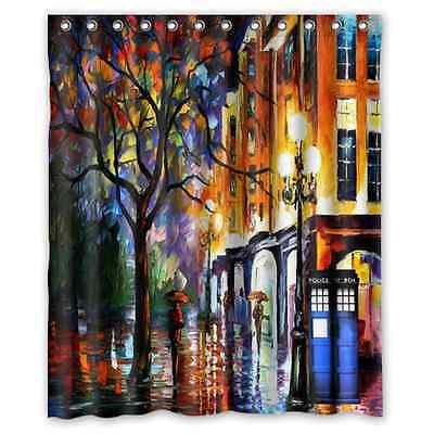 Colorful Doctor Who Tardis Art Waterproof Bathroom Shower Curtain60(w) x 72(h)