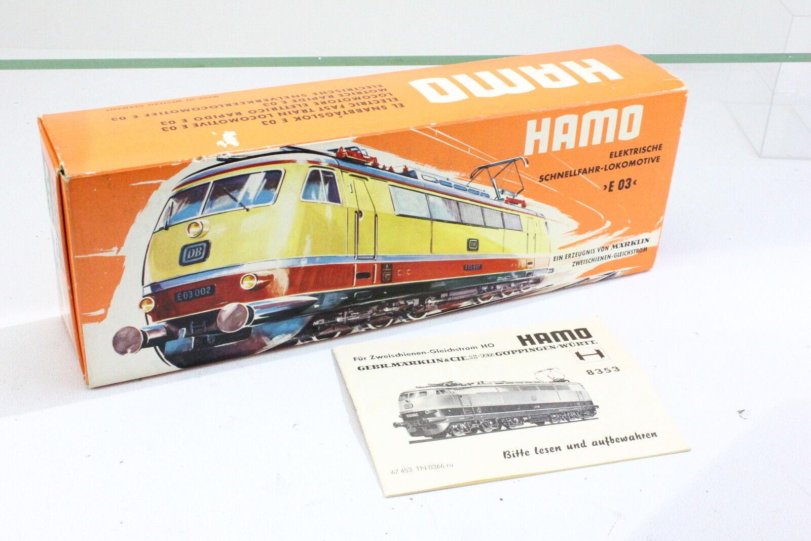 Märklin HAMO 8353 OVP Bilderkarton Orange mit mit mit Papiere für E-Lok E03 002 BR103 c96829