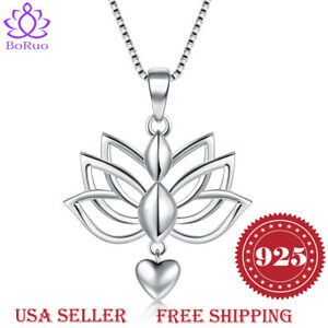 925-Sterling-Silver-Necklaces-Lotus-Flower-Yoga-Heart-Pendant-With-Box-Chain