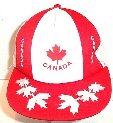 Retro Canada Stripes Red White Maple Leaf Snapback Trucker Cap Hat Hipster Indie