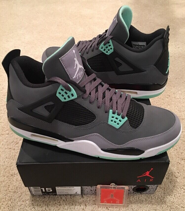 brand new 25bc7 fc18d ... cheapest nike glow air jordan retro 4 iv verde glow nike comodo wild  casual shoes c89111 ...