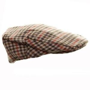 OCTAVE® Mens Wool Mix Tweed Country Style Flat Cap - Orange Check  f8bc073b551