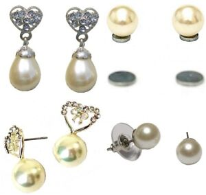 Image Is Loading Silver Pearl Heart Crystal Ear Stud Clip On