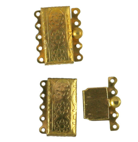 Original 1950s 1 x Vintage Box Clasp 5-Strand Gold OR Silver Tone