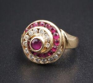 Vintage-14k-Yellow-Gold-9ct-Natural-Diamond-Ruby-Swirl-Dome-Ring-Sz-5-75-RG1515