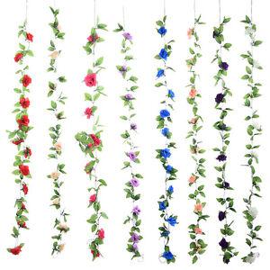 Kunstliche-Gefalschte-Seide-Rose-Blume-Efeu-Rebe-Hangenden-Girlande-Hochzeit-Dec