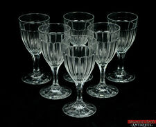 Vintage Lot of 6 Heisey Narrow Flute Clear Glass Water Goblets