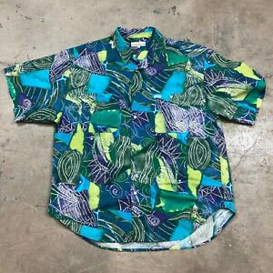 Vintage-1990s-Guess-Marciano-Made-in-USA-Hawaiian-Surfer-Beach-Shirt-Men-s-XL