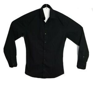 Connor-Men-039-s-Slim-Black-Long-Sleeve-Shirt-Size-XS