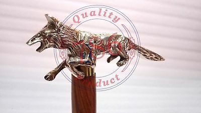vintage brass handle fox design silver heavy quality with ring for walking stick