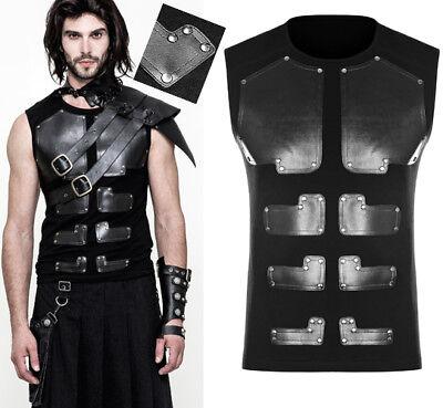 Débardeur haut gothique punk armure guerrier plaques acier clouté PunkRave Homme