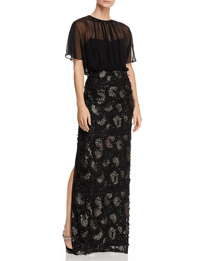 Aidan Mattox orné de sequins Floral-applique robe de fabricants Standard prix de détail  330 Größe 12   8B 507 BLM
