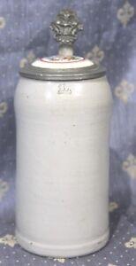 Keramik-Bierkrug-Maskrug-Zinndeckel-Porzellaneinlage-Erinnerung-um-1900