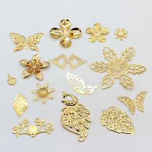 20p Filigree gold metal bead caps connector pendants jewelry making findings