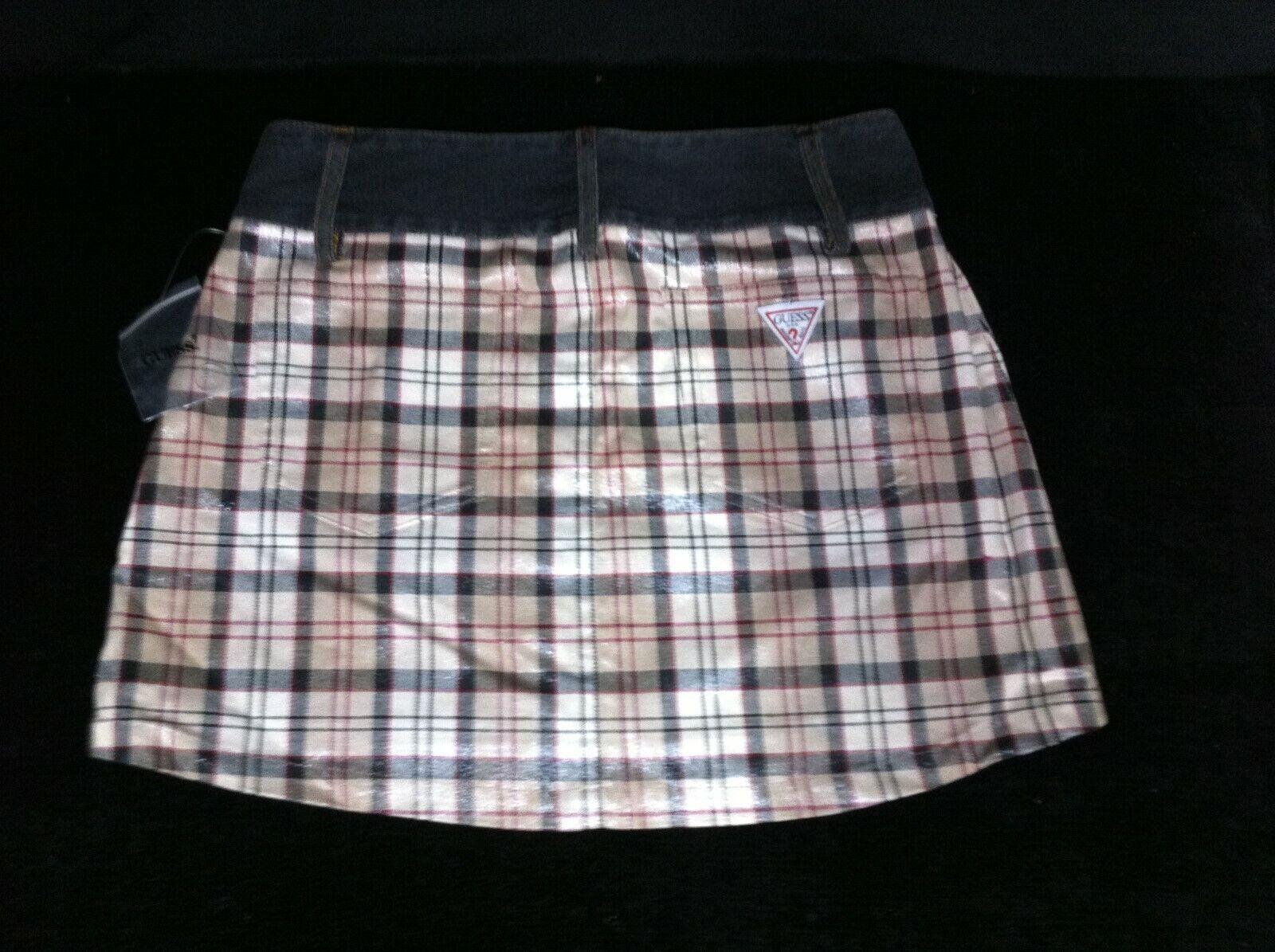 NEW Vintage 1990s GUESS JEANS Mini Wrap Around Skirt Denim & Plaid Jrs Womens 28