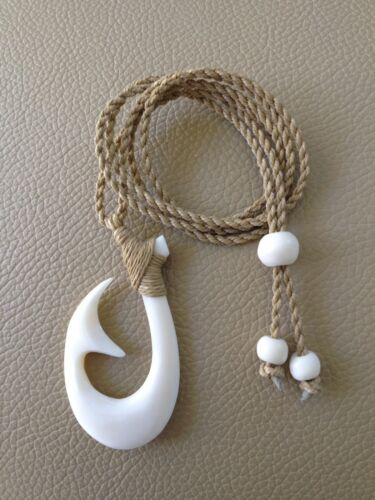 "Hawaiian Fishhook Necklace Carved From Buffalo Horn 2/"" Tall.with Adjustable cord"