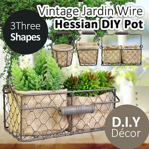 Vintage Jardin Wire Hessian Pot Planter Round Square Rectangle DIY ...