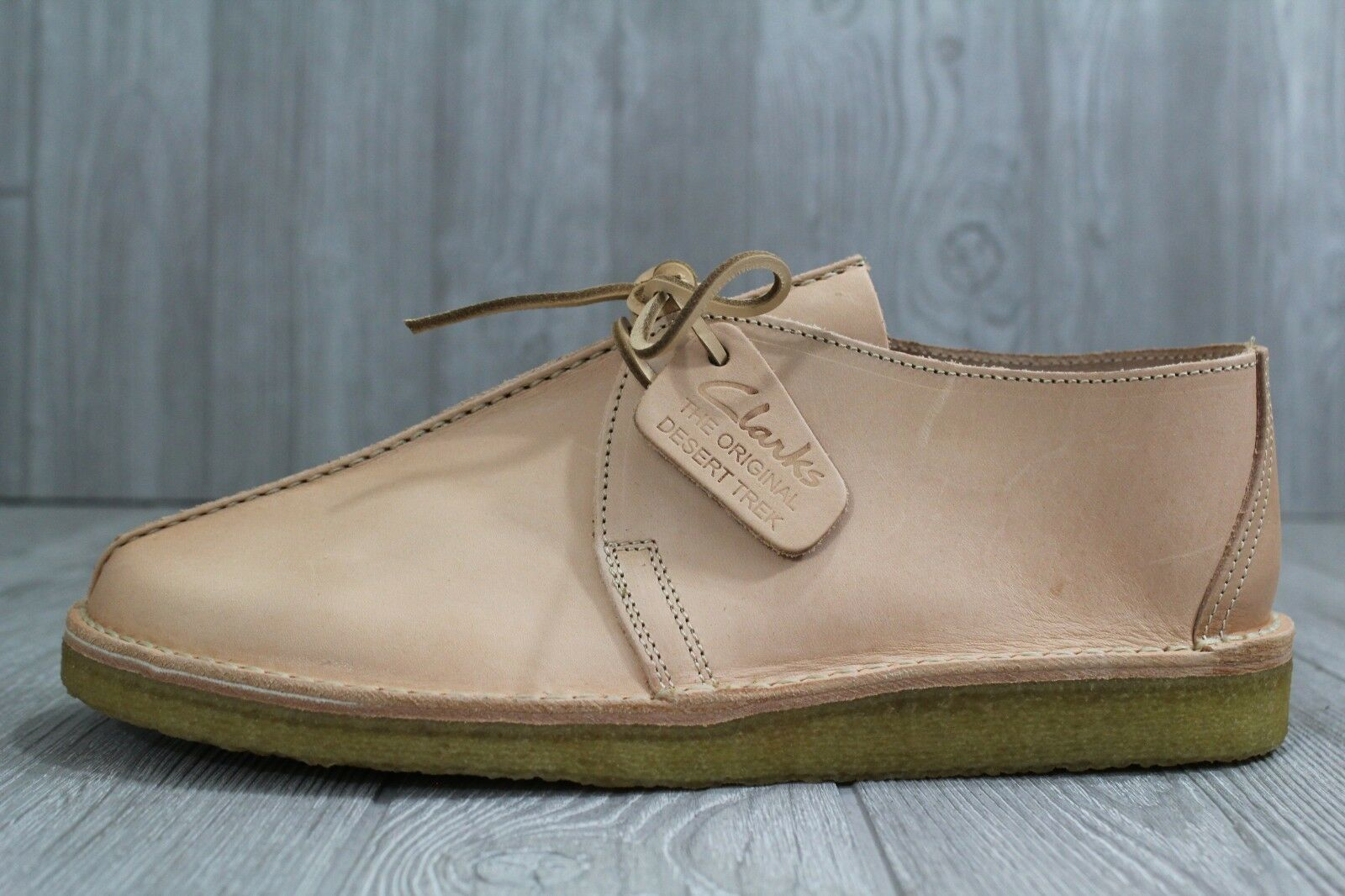 32 RARE Clarks Originals Desert Trek Natural Tan Italian Leather shoes Sz 11.5