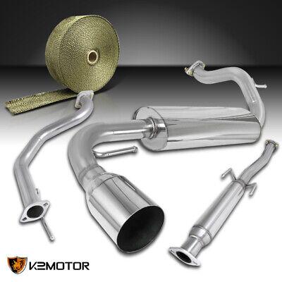 For 01-05 Honda Civic 2//4Dr S//S Exhaust Catback Muffler+Black Fiberglass Wrap