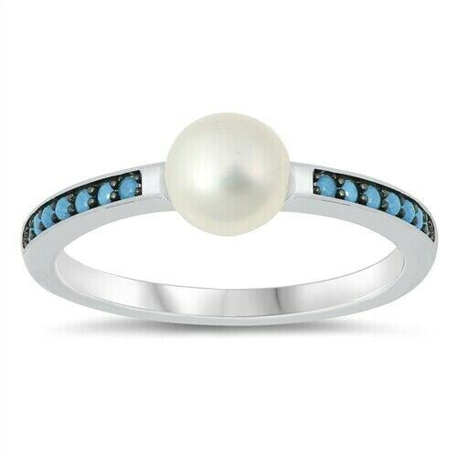 Freshwater Pearl Ring Véritable Argent Sterling 925 Turquoise hauteur 5 mm Taille 7