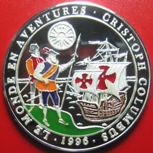 1996-BENIN-1000-FRANCS-SILVER-PROOF-CHRISTOPHER-COLUMBUS-SANTA-MARIA-SHIP-RARE