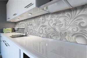 Details zu KÜCHENRÜCKWAND Spritzschutz Küche Gehärtetes Glas abstrakt grau  Dekore Blätter