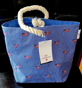 Details About Vineyard Vines For Target Bag Wine Snack Picnic Tote Gingham Flag Whale
