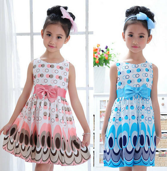 Kids Girls Toddle Bow Belt Sleeveless Bubble Peacock Dress Party Clothing Sz2-7Y