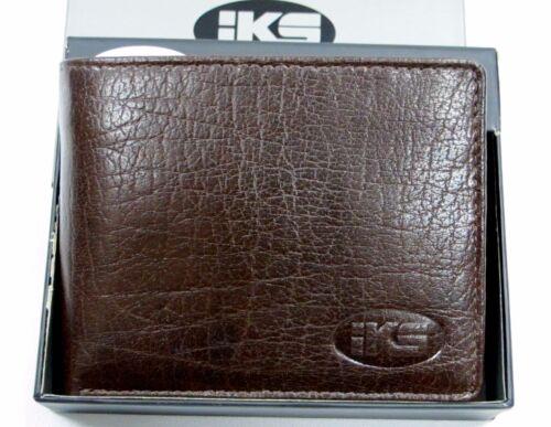 Cognac Brown Trifold Black High Quality Italian Leather Men/'s Wallet Bi-fold