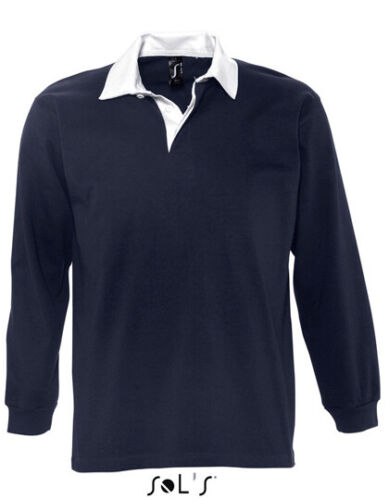 Uomo Maglia da Rugby Twillkragen Cotone Maglietta Maniche Lunghe Colletto Polo