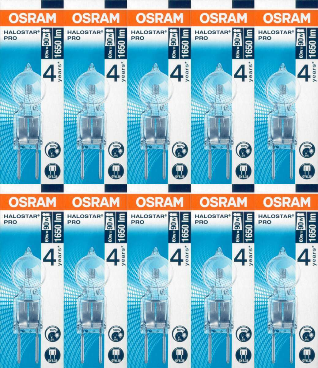 10 X Osram Lámpara de Zócalo Fino Halostar pro 64447 GY6,35 12V 60W Halógeno EEK