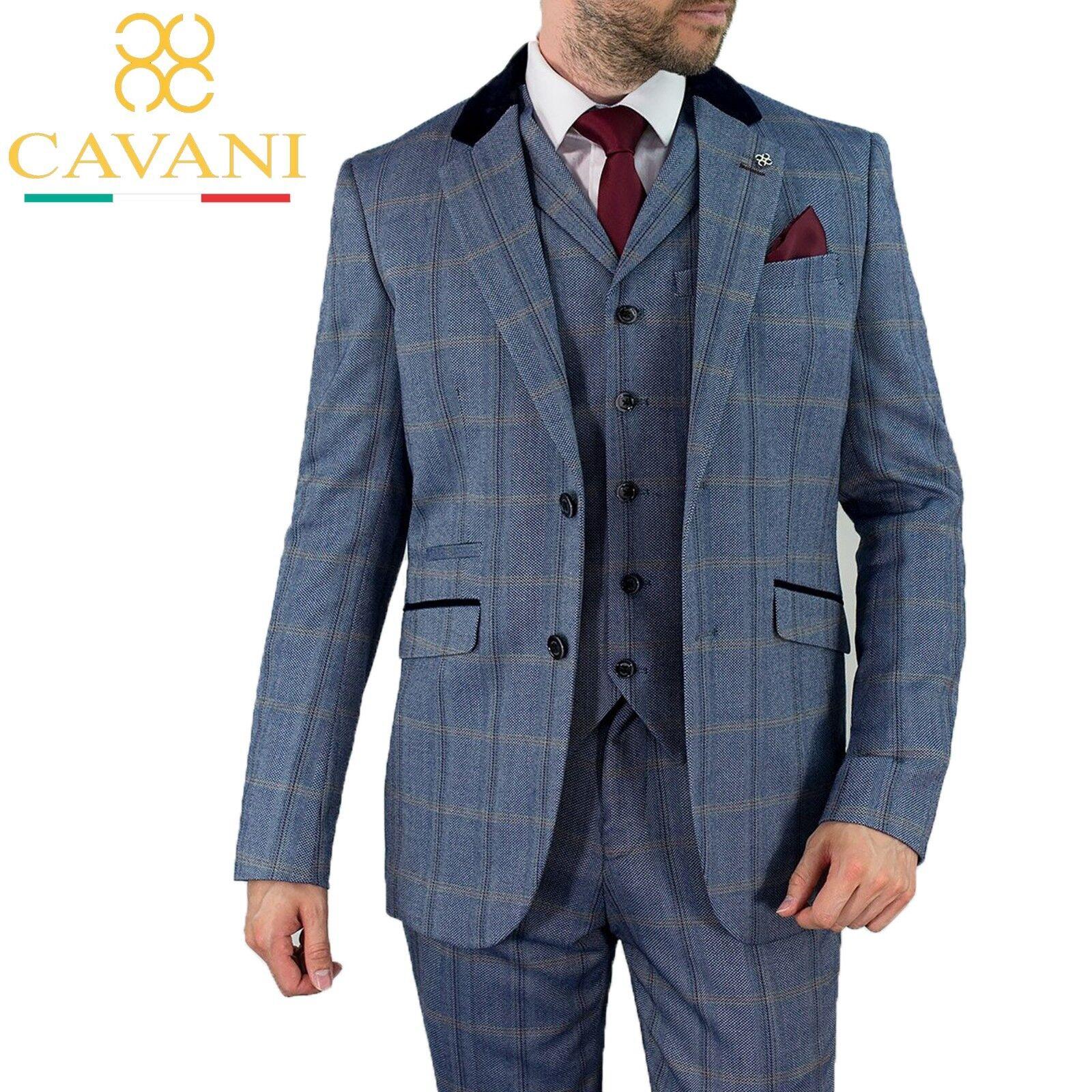 Herren Cavani Peaky Blinders Connal Blau Tweed Wool Formal Wedding 3 Piece Suit
