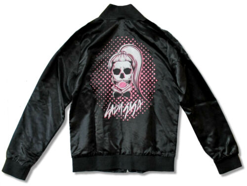Lady Gaga Skeleton Bubble Black Satin Jacket New Official Juniors