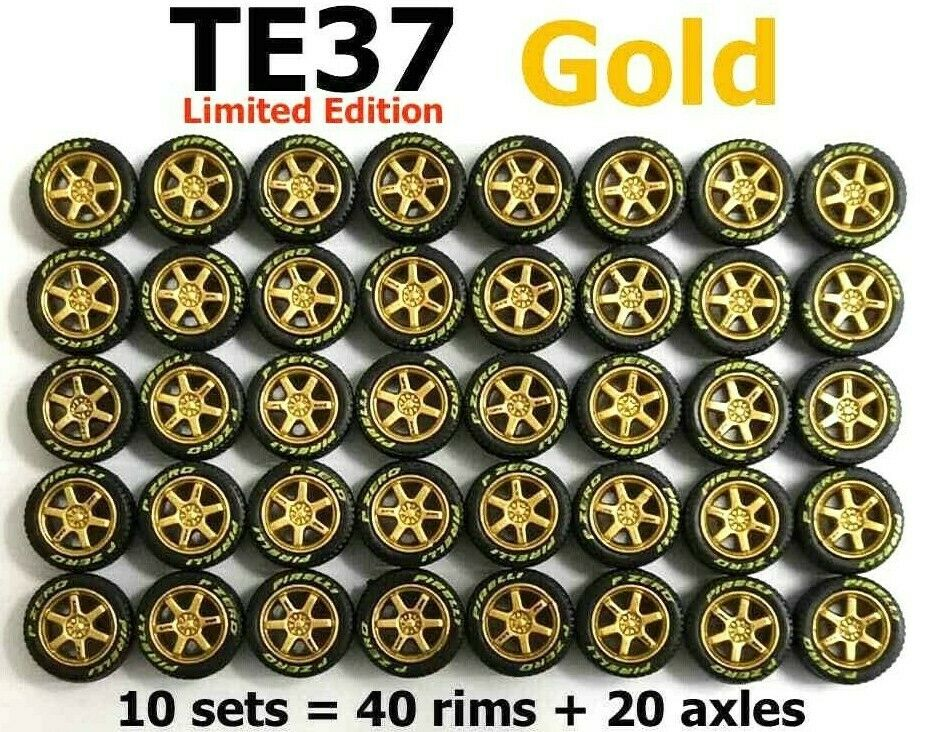 1:64 rubber tire TE37 gold rim Limited Edition fit Hot Wheels diecast - 10 sets