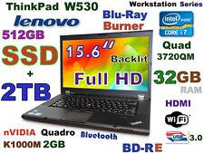 """(3D Design) Thinkpad W530 i7-QUAD (BD-RE 512GB-SSD + 2TB 32GB) 15.6"""" nVIDIA-2GB"""