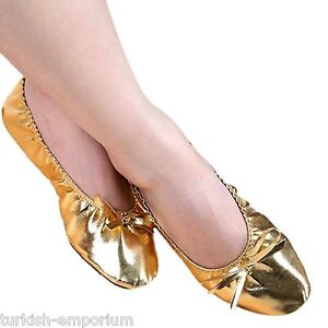 00b3b5ca9 Women s PU Metallic Leather Belly Dance Ballet Flat Soled Shoes