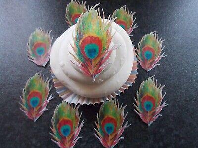 12 PRECUT Edible Multi Colour Peacock Feathers wafer paper ...