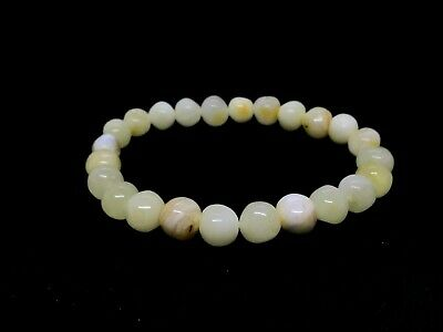 Baltic Amber Round Pressed Genuine Beads 18-20 mm Butter White Bracelet AAA