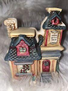 RARE-Vintage-Lighted-Quilt-Shop-Christmas-Village-Decoration-CUTE