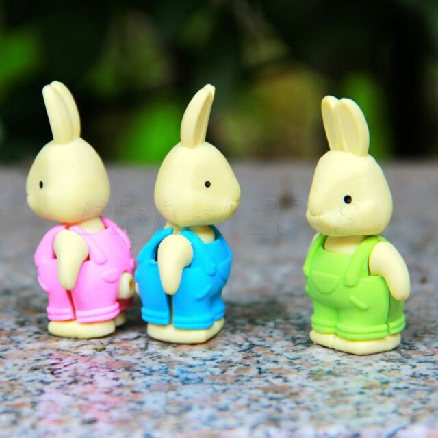 Rabbit Pencil Eraser Rubber Animal Stationery 3D Cute Bunny Funny Gift Prize Kid