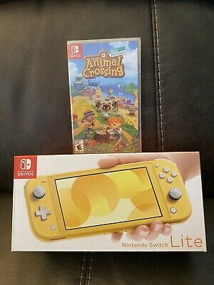 Nintendo Switch Lite Yellow Console With Sealed Animal Crossing