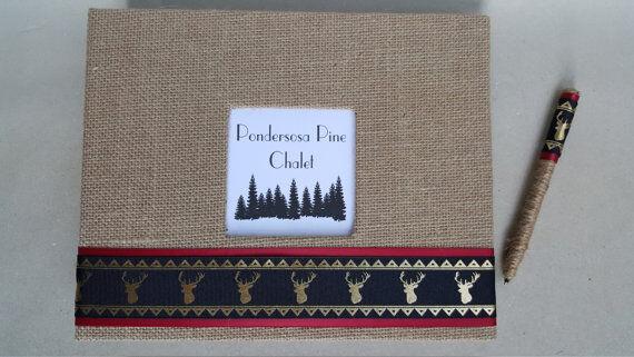Rustic Cabin Guest Book Set-LIVRE D'OR JUTE Deer ELK location signe maison cadeau