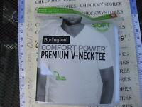 Burlington Men's 4-pack Soft Pima Cotton V-neck T-shirt, White Choose Size