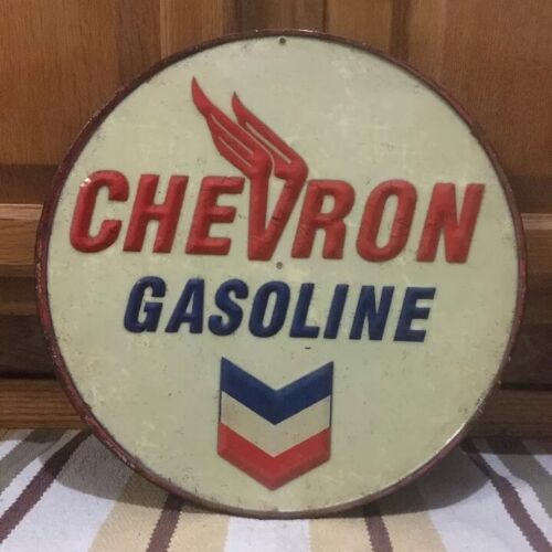 Chevron Gasoline Embossed Metal Sign Garage Vintage Style Wall Decor Tools Oil