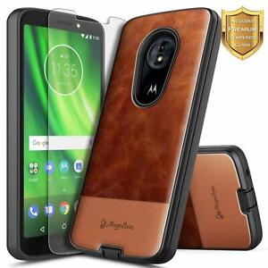 For Motorola Moto G6 Play/Forge Case Shockproof Leather Cover + Tempered Glass