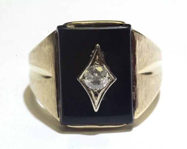 10k yellow gold .22ct I3 H diamond onyx mens ring 7.2g gents vintage estate