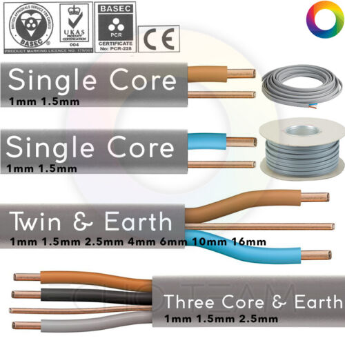 Single Twin and Earth Three Triple Core Electric Cable Wire Socket Cooker Shower