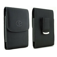 Vertical Leather Belt Clip Case Pouch For Consumer Cellular Doro Phone Easy 626