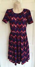 Lularoe Amelia Pocket Dress Sz Small Purple Blue Black Burgundy Chevron Zig Zag